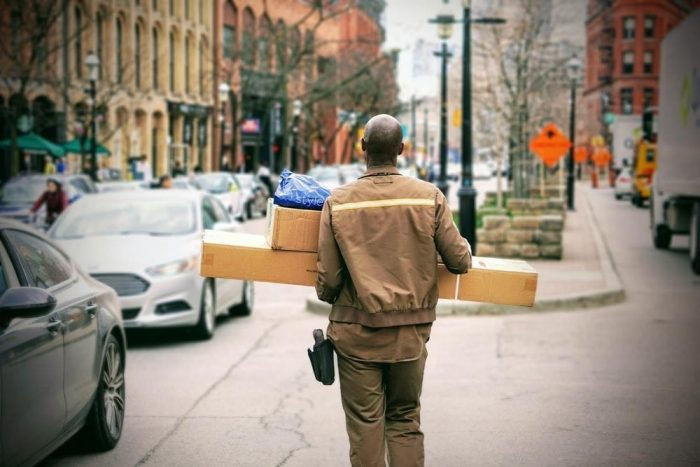 A man carrying packages