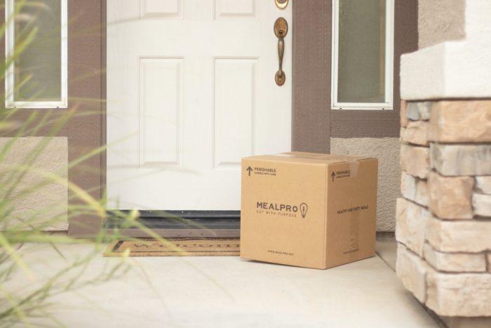 A package in front of a door